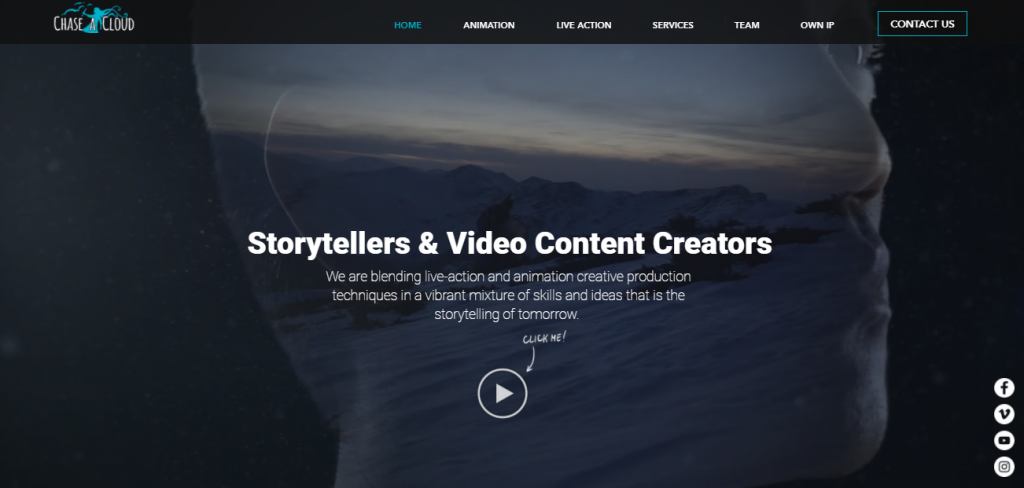 Screenshot of the Chase a Cloud video marketing agency homepage
