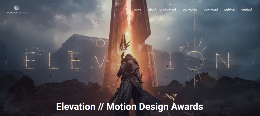 Screenshot of the Mondlicht Studios video marketing agency homepage