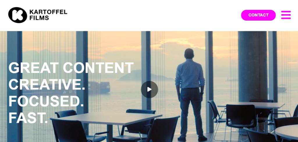 Screenshot of the Kartoffel Films video marketing agency homepage