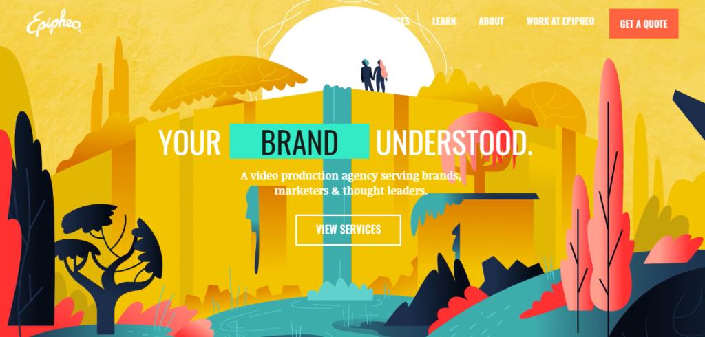Screenshot of the Epipheo video marketing agency homepage