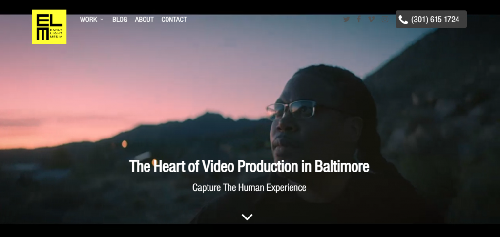 Screenshot of the Early Light Media video marketing agency homepage