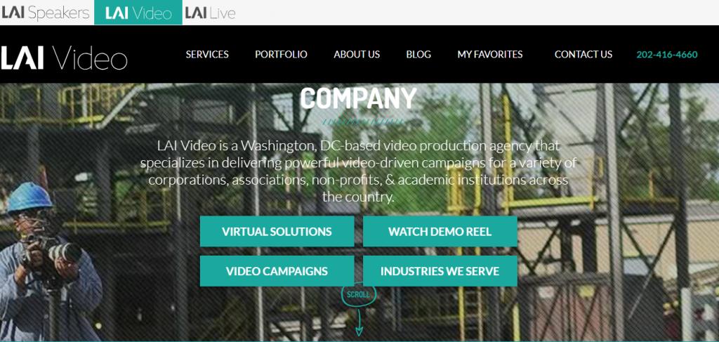 Screenshot of the LAI video marketing agency homepage