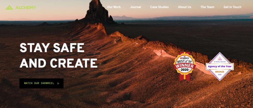 Screenshot of the Alchemy Create video marketing agency homepage