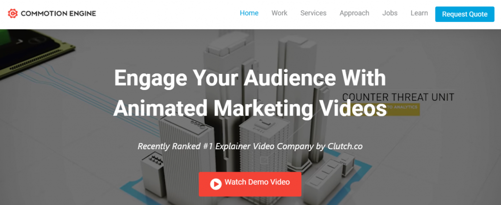 Screenshot of the Commotion Engine video marketing agency homepage