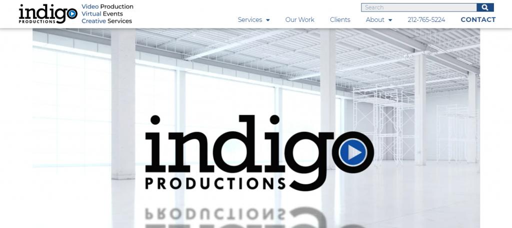 Screenshot of the Indigo Productions video marketing agency homepage