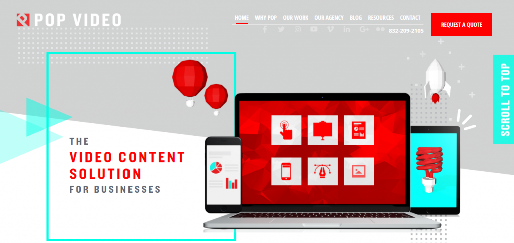 Screenshot of the Pop video marketing agency homepage