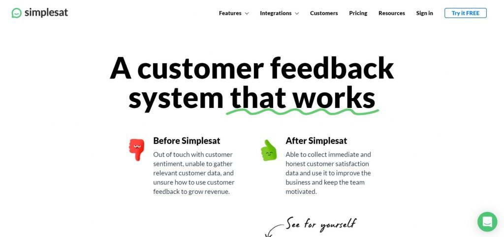 Simplesat_customer feedback software