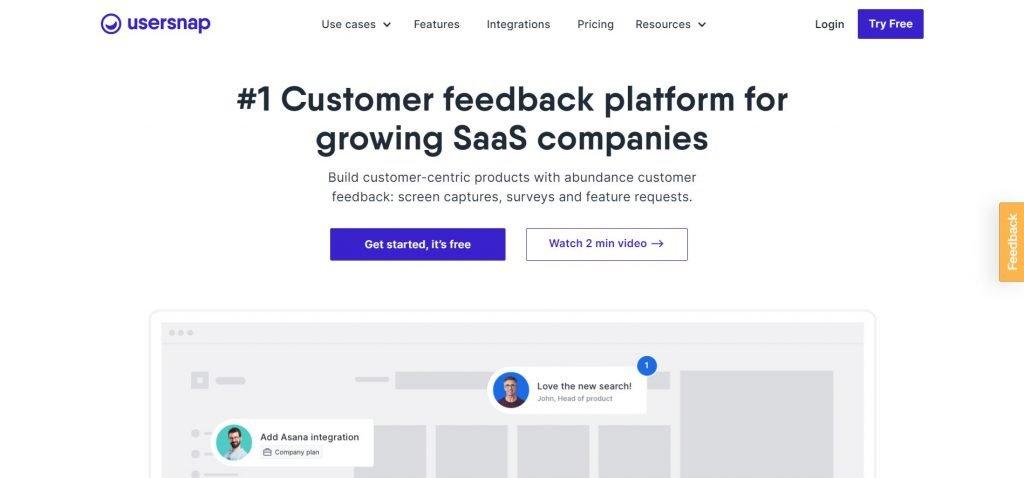 Usersnap_customer feedback software