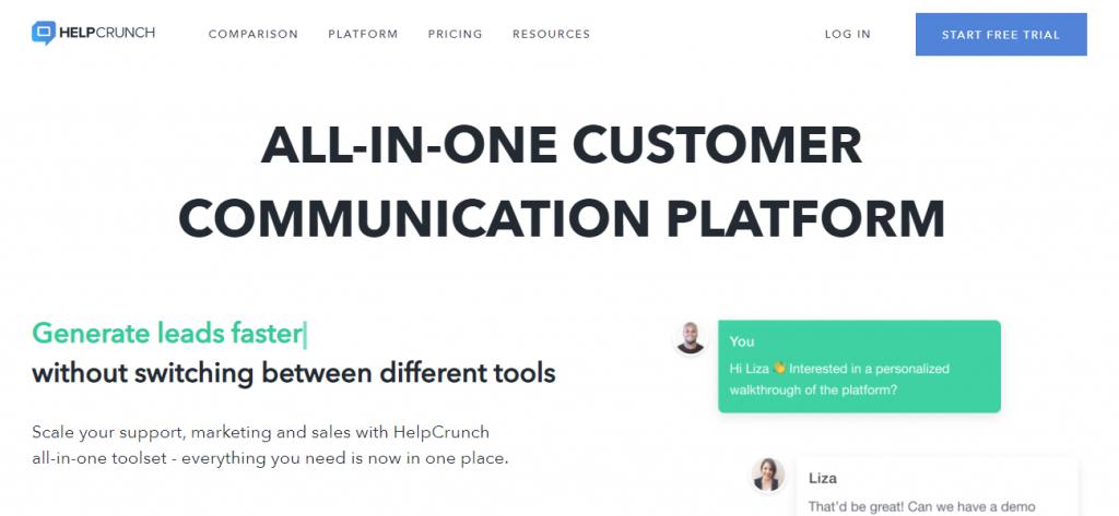B2B Lead Generation Software - Screenshot of the HelpCrunch homepage