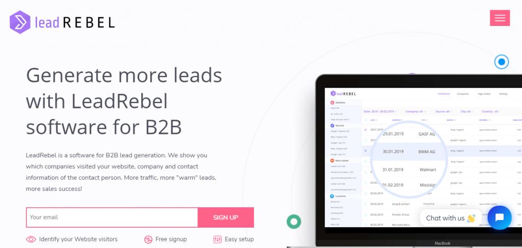 B2B Lead Generation Software - Screenshot of the Lead Rebel Homepage