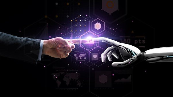 PPC Management Tools - graphic image of a human hand and a robot hand touching finger tips