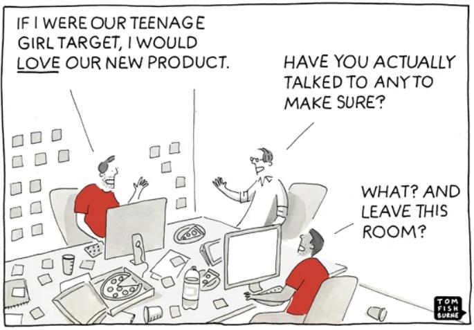 Customer interviews cartoon