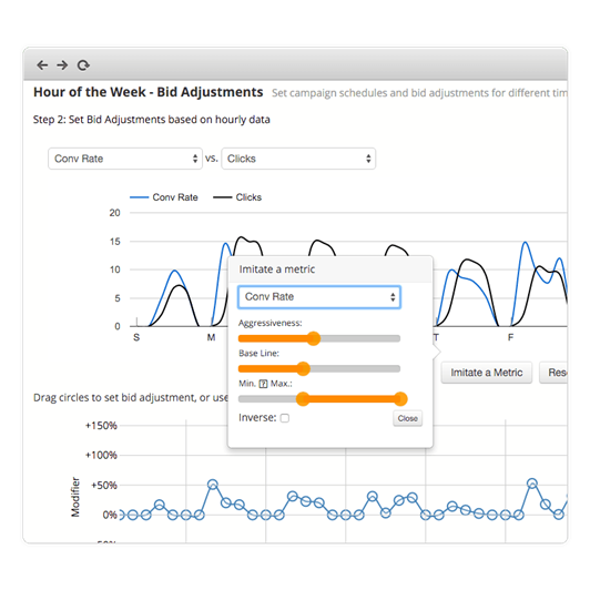 Screenshot of Optmyzr PPC Management Tools Campaign Schedule