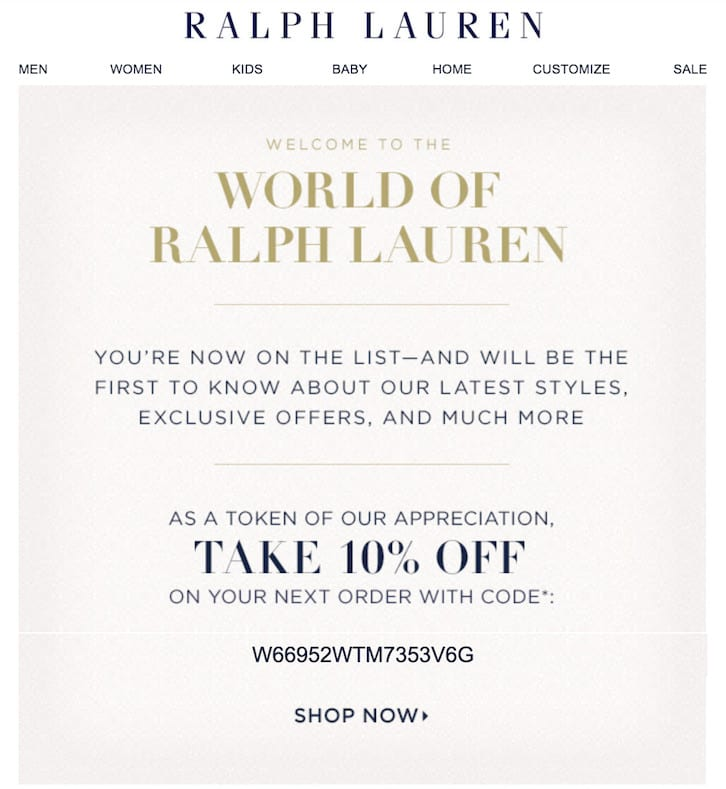 Trigger Marketing - Example of a welcome message email by Ralph Lauren