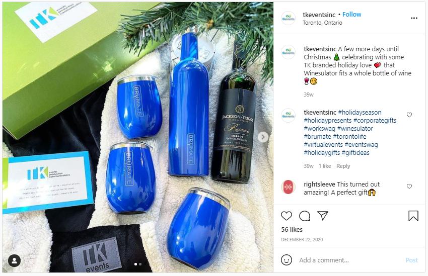 Company Swag Idea - TK Events Inc - Screenshot from Instagram
