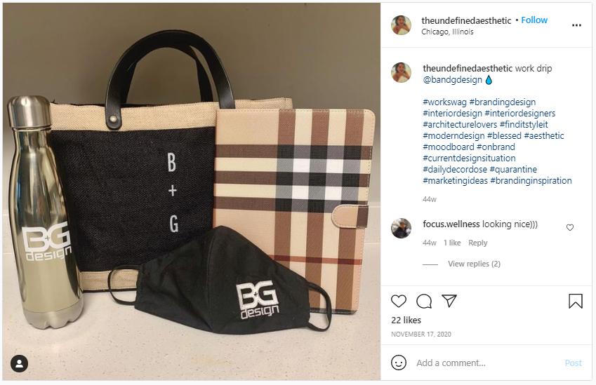 Company Swag Idea - BG Design - Screenshot from Instagram