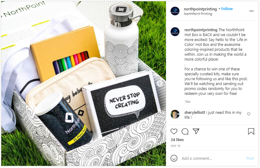 Company Swag Idea - North Point Printing Co - Screenshot from Instagram