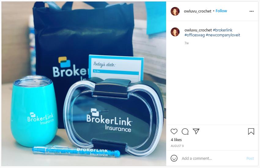 Company Swag Idea - Broker Link Insurance - Screenshot from Instagram