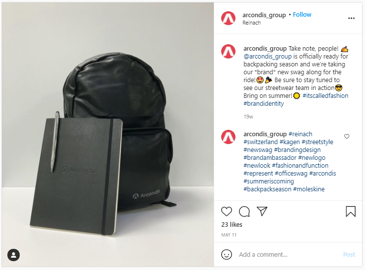 Company Swag Idea - Arcondis Group - Screenshot from Instagram