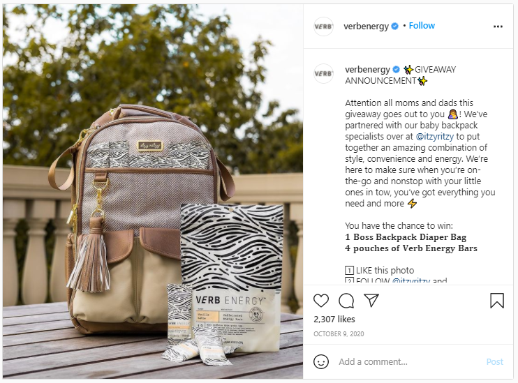 Company Swag Idea - Verb Energy - Screenshot from Instagram