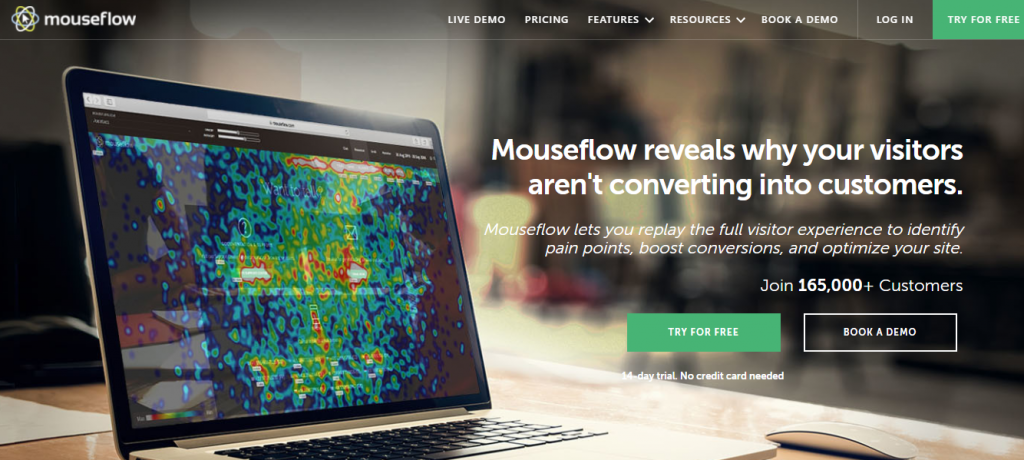 Screenshot of Mouseflow Heat Mapping Tool Homepage