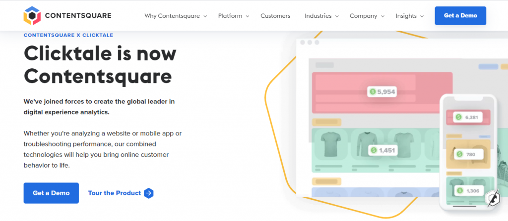 Screenshot of ContentSquare's Heat Mapping Tools homepage
