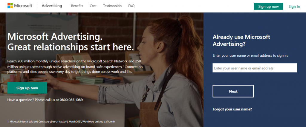 Screenshot of Bing Ads PPC Management Tools Homepage