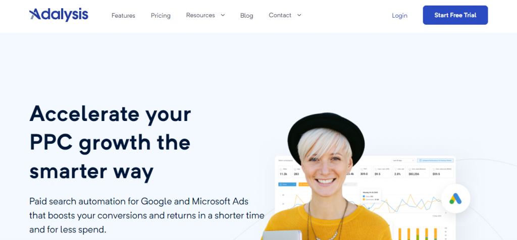 Screenshot of Adalysis PPC Management Tools Homepage