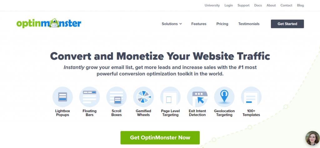 Lead magnet ideas: Screenshot of Lead Magnet Tool OptinMonster Homepage