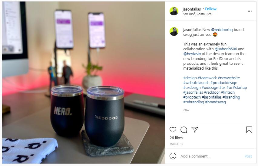Company Swag Idea - Red Door - Screenshot from Instagram