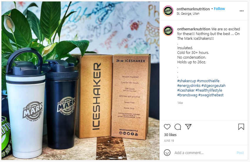 Company Swag Idea - On the Mark Nutrition - Screenshot from Instagram