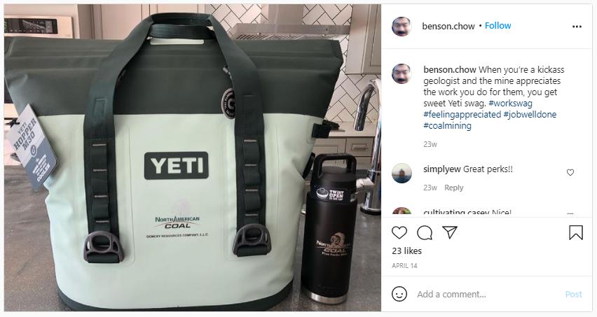 Company Swag Idea - North American Coal - Screenshot from Instagram
