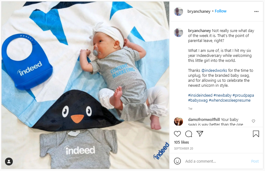 Company Swag Idea - Indeed - Screenshot from Instagram