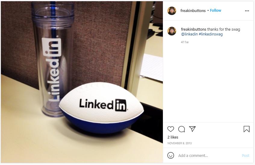 Company Swag Idea - LinkedIn - Screenshot from Instagram