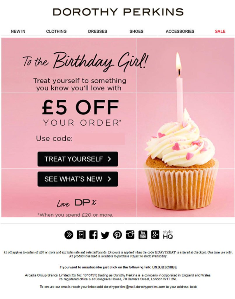 Trigger Marketing - example of a personalized birthday email with a promo code for the recipient