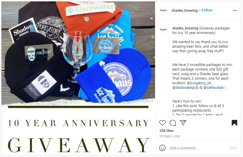 Company Swag Idea - Shades Brewing - Screenshot from Instagram