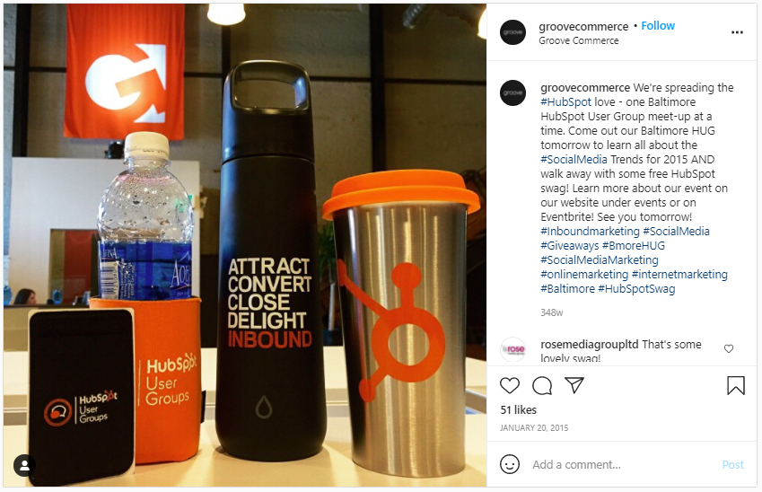 Company Swag Idea - Groove Commerce - Screenshot from Instagram
