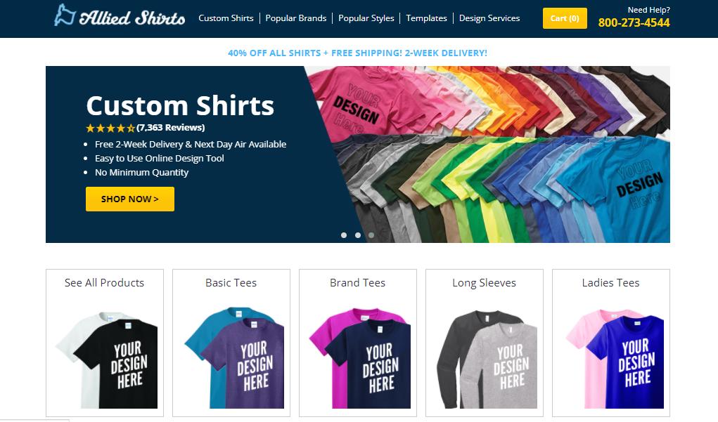 Company Swag - Screenshot of the Allied Shirts homepage