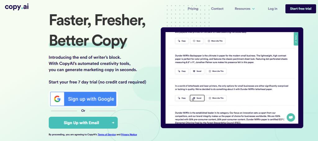 Copy.ai website