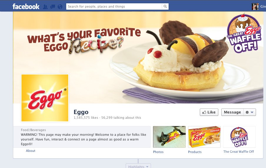 """Eggo's Facebook page. Cover image shows a waffle with ice cream and cookies in the shape of a bee. Text reads, """"What's your favorite Eggo recipe?"""""""