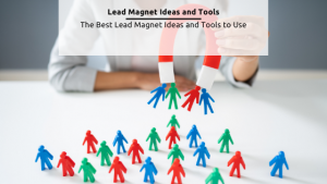 Lead Magnet Ideas: Graphic from Canva of a Magnet picking up little colorful people icons