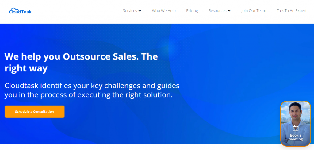 Screenshot of the CloudTask Outsourced sales team homepage