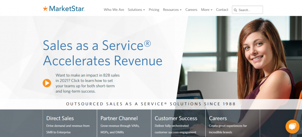 Outsourced sales team - screenshot of the MarketStar homepage