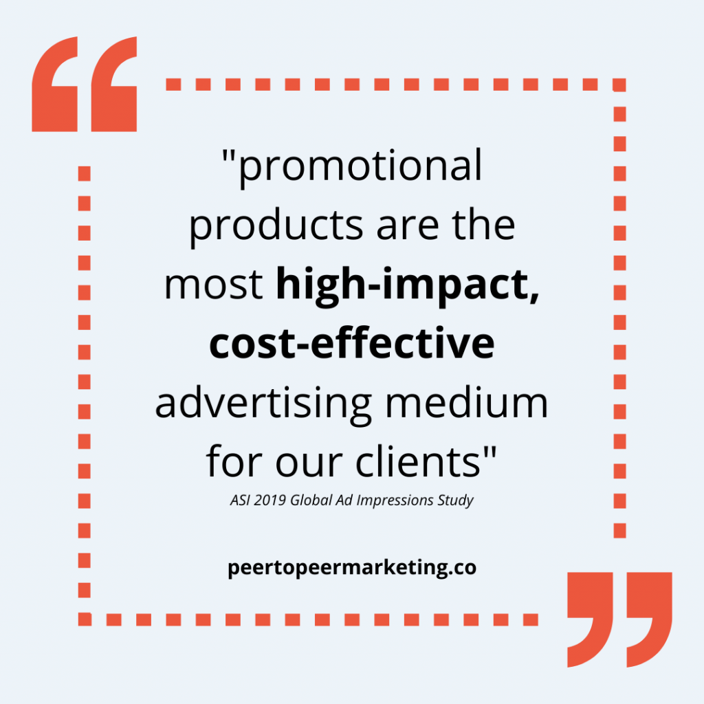 """Marketing Swag - Image text says """"promotional products are the most high-impact, cost-effective advertising medium for our clients"""" - SAI Global Ad Impressions Study 2019"""
