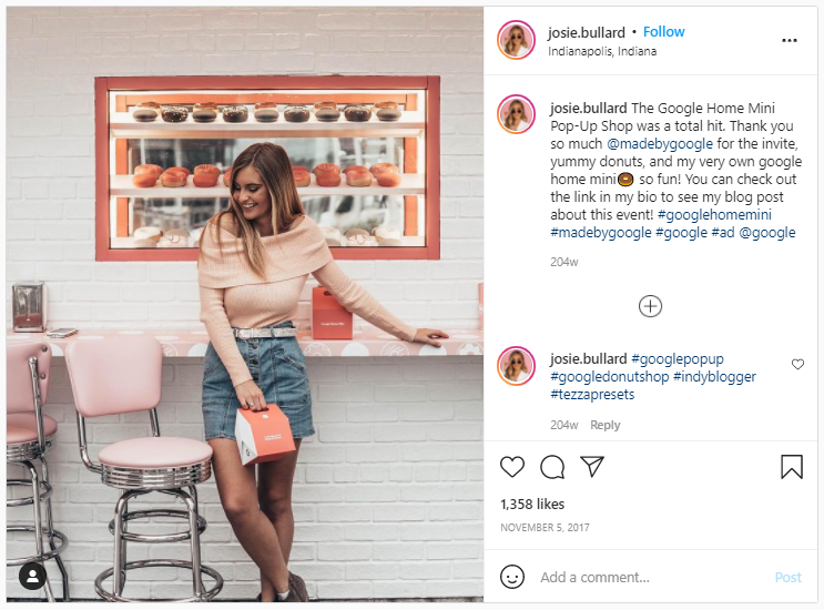 Marketing Swag - Instagram screenshot of a pic of one of Google's donut pop-up shops