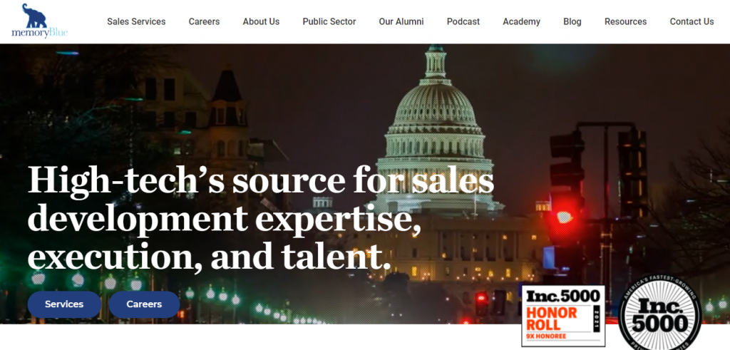 Screenshot of the outsourced sales team MemoryBlue's homepage
