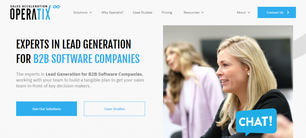 Screenshot of the Operatix outsourced sales team homepage