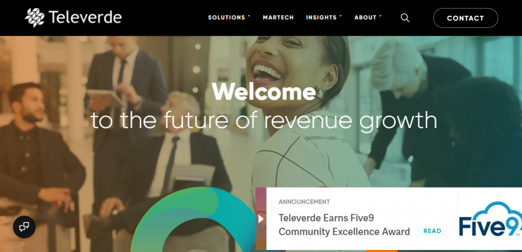 Outsourced sales team - screenshot of the Televerde homepage