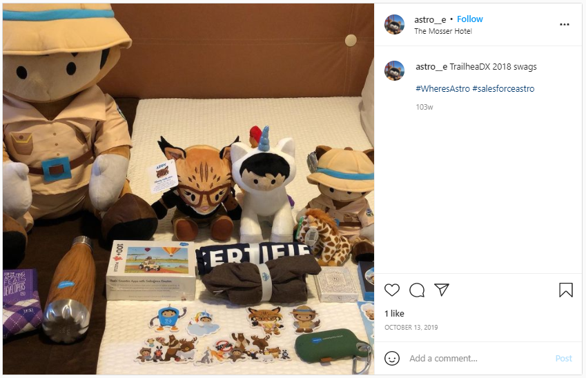 Marketing Swag - Salesforce character plush toys and stickers