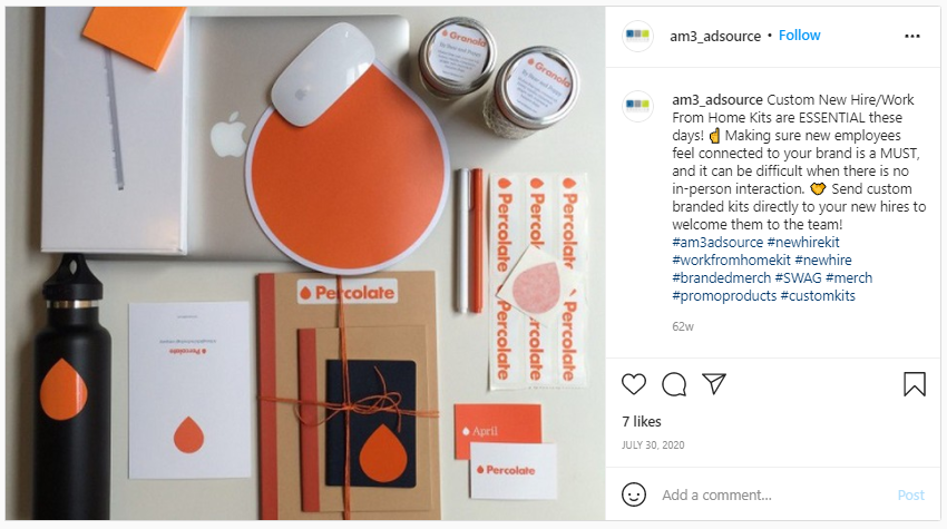 Marketing Swag - Screenshot from instagram of a work from home swag kit by Percolate